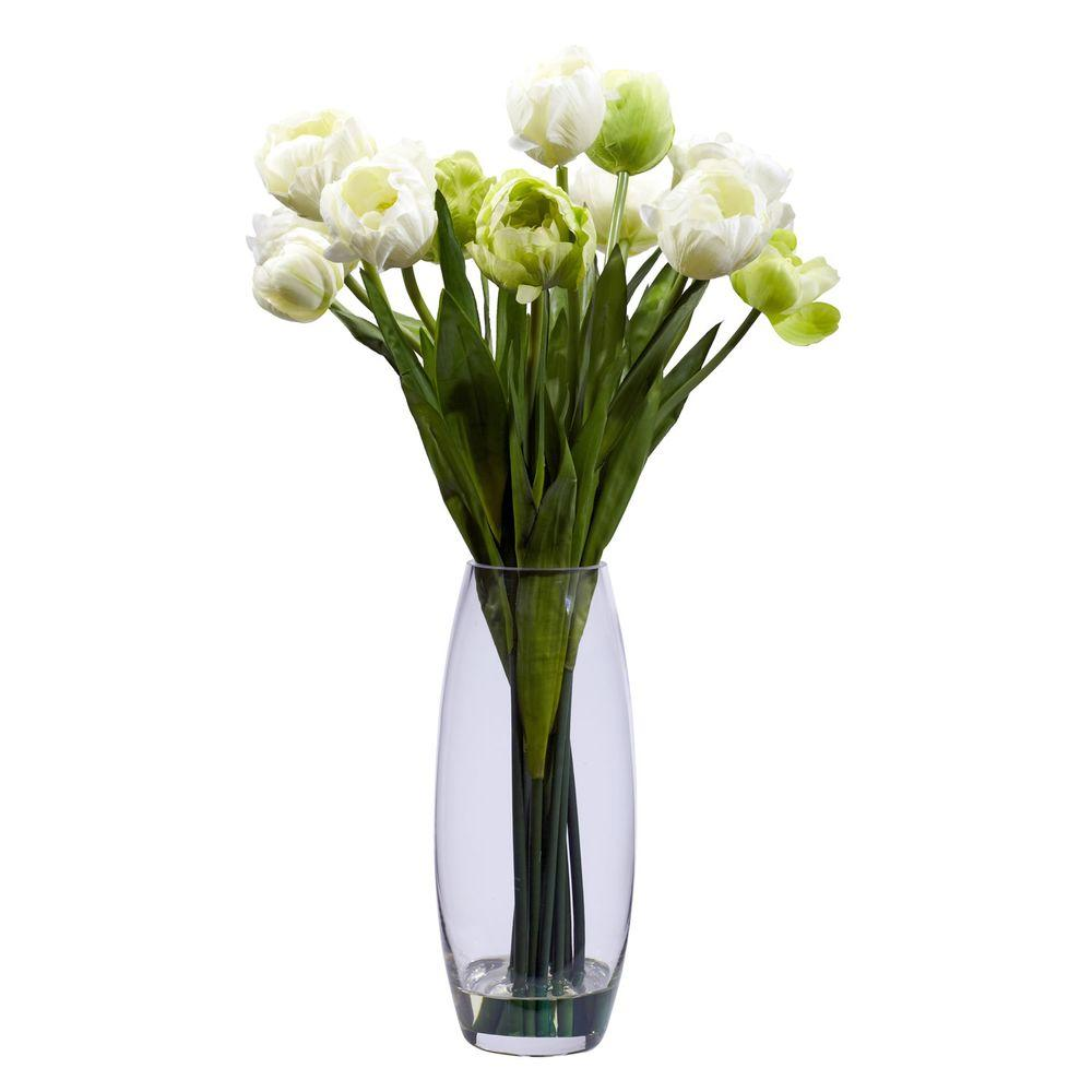 Nearly Natural 20 In H White Tulip With Vase Silk Flower