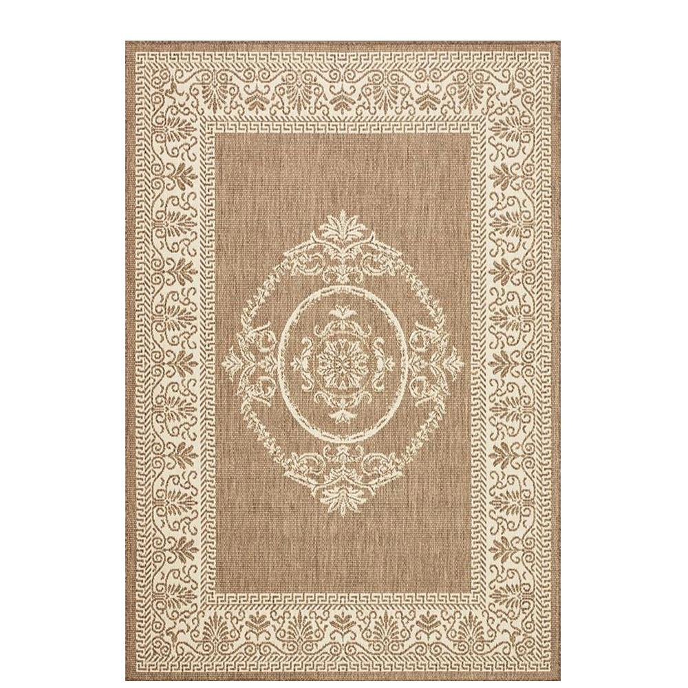 Antique Medallion Taupe/Champagne 4 ft. x 5 ft. Indoor/Outdoor Area Rug