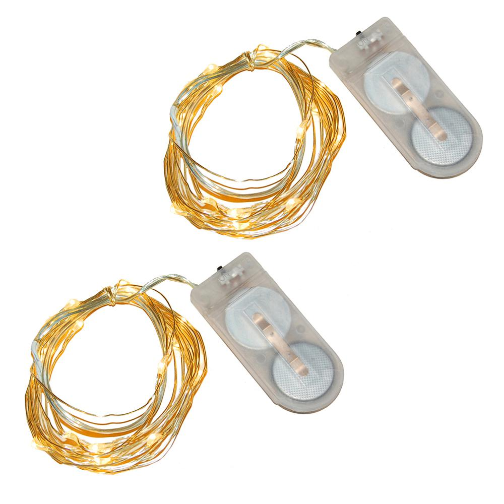 Lumabase 40 Light Mini Battery Operated Waterproof String Lights In Amber 2 Count 64702 The Home Depot