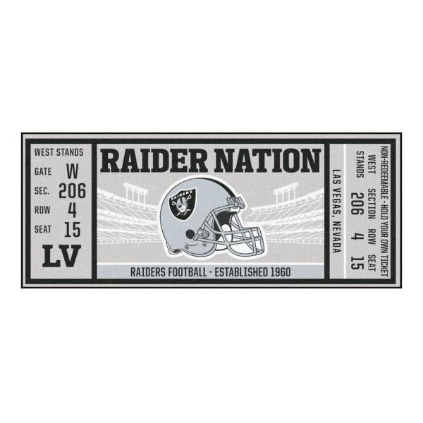 NFL - Las Vegas Raiders 30 in. x 72 in. Indoor Ticket Runner Rug