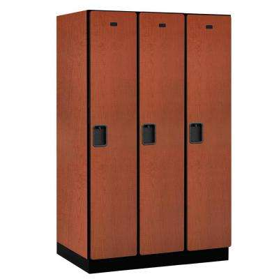 21000 Series Single-Tier 24 in. D 3-Compartments Extra Wide Designer Particle Board Locker in Cherry