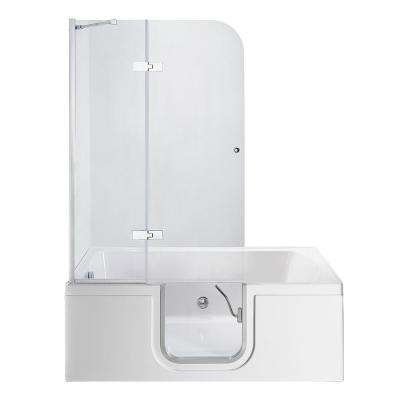 Laydown 60 in. Walk-in Whirlpool Bathtub in White with LHS Hinged Middle Glass Door, Glass Door Screen, 2 in. LHS Drain