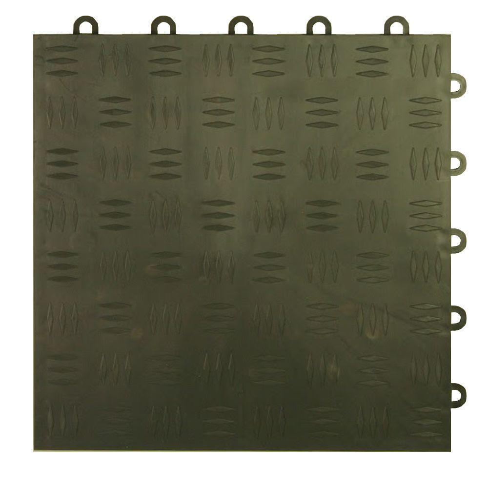 Diamond Top 1 ft. x 1 ft. x 1/2 in. Dark Gray Polypropylene Interlocking Garage Floor Tile (Case of 24)