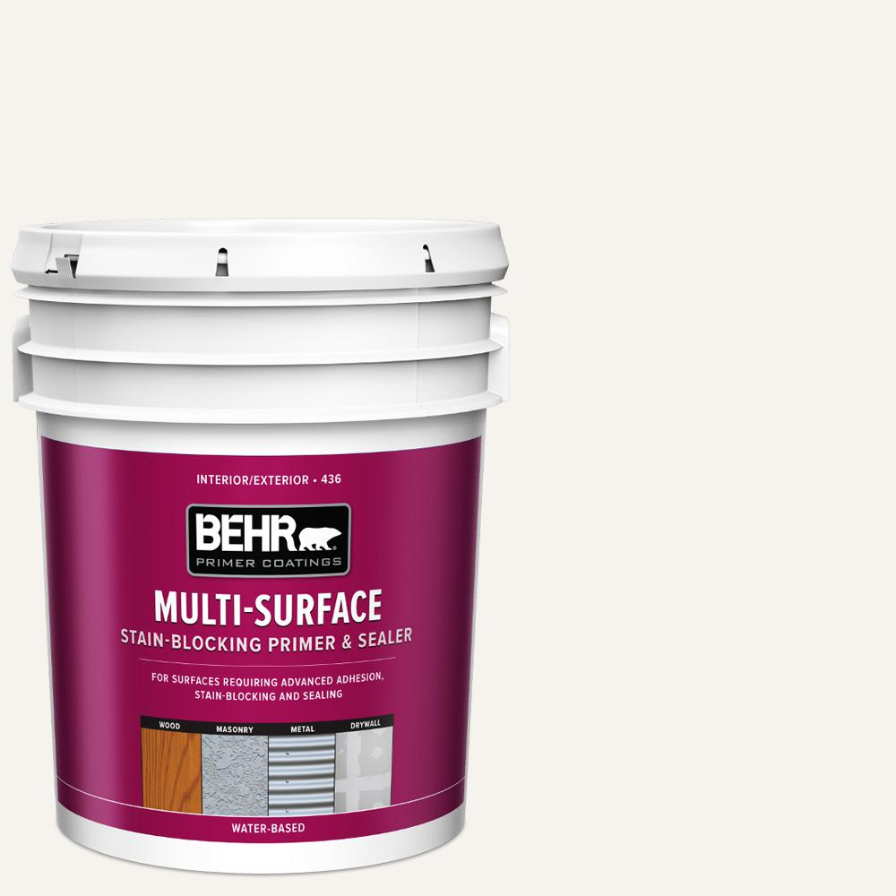 BEHR 5 gal. White Acrylic Interior/Exterior Multi-Surface Stain-Blocking Primer and Sealer
