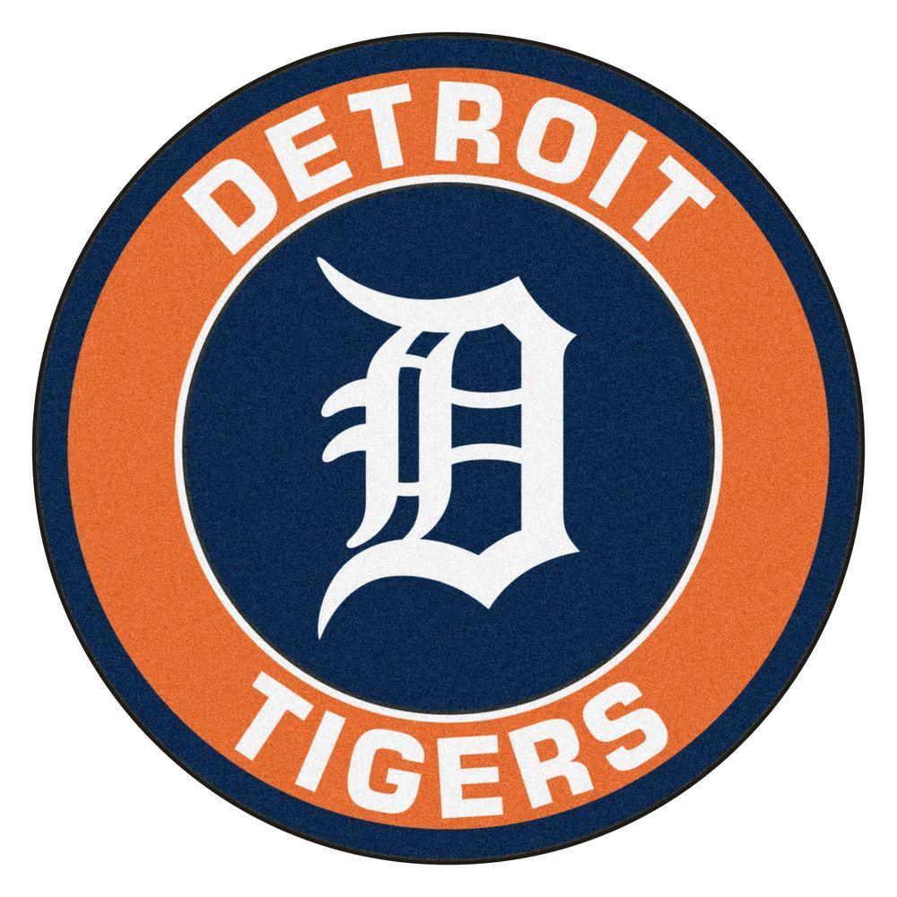 MLB Detroit Tigers Orange 2 ft. x 2 ft. Round Area Rug