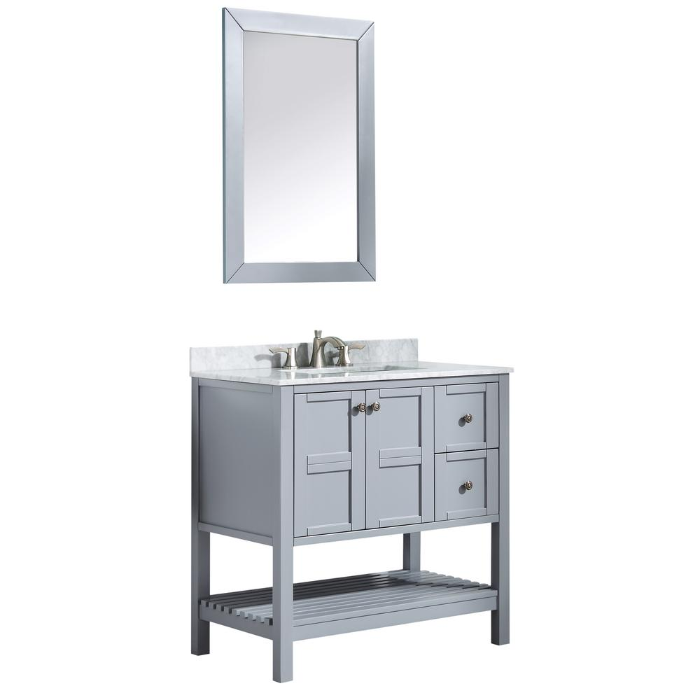 ANZZI Montaigne 36 in. W x 35.75 in. H Bath Vanity in Gray with Marble Vanity Top in Carrara White with White Basin and Mirror