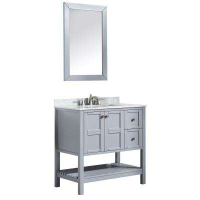 Montaigne 36 in. W x 35.75 in. H Bath Vanity in Gray with Marble Vanity Top in Carrara White with White Basin and Mirror