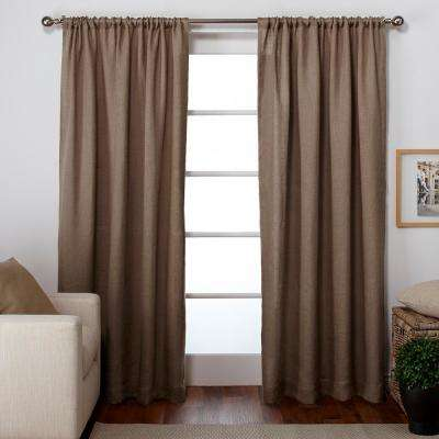 Burlap 54 in. W x 84 in. L Jute Rod Pocket Top Curtain Panel in Natural (2 Panels)