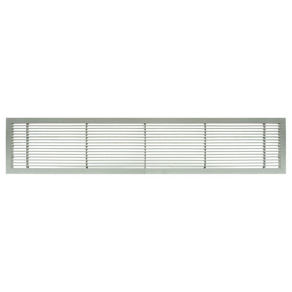 Architectural Grille AG10 Series 4 in. x 36 in. Solid Aluminum Fixed Bar Supply/Return Air Vent Grille, Brushed Satin