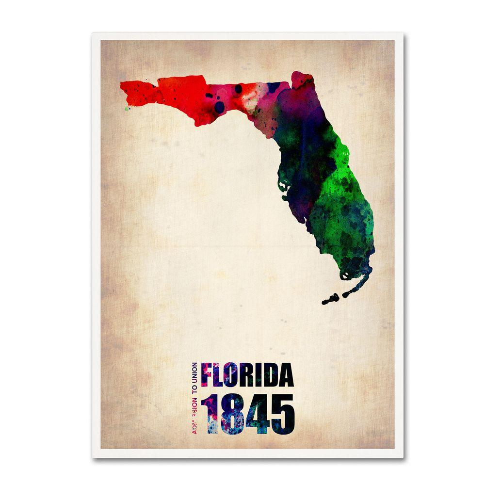 32 in. x 24 in. Florida Watercolor Map Canvas Art