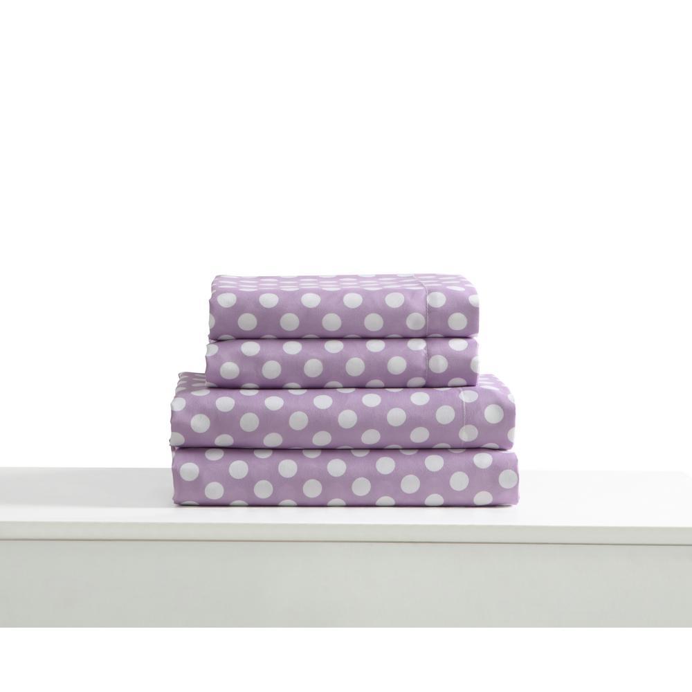 KuteKids Kute Kids 3-Piece Lilac Geometric Twin Sheet Set, Purple