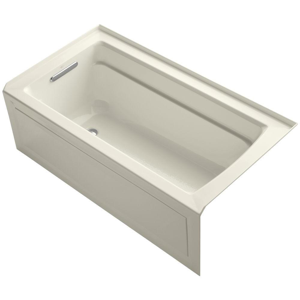 Kohler archer 5 ft left hand drain rectangular alcove for Deep alcove tub