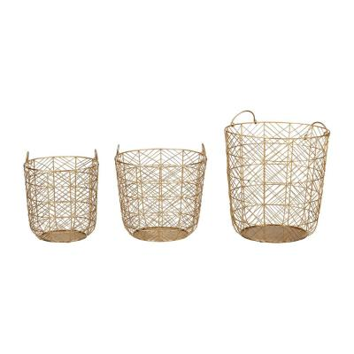 Home Decorators Collection Round Gold Metal Wire Decorative Basket (Set of 3)