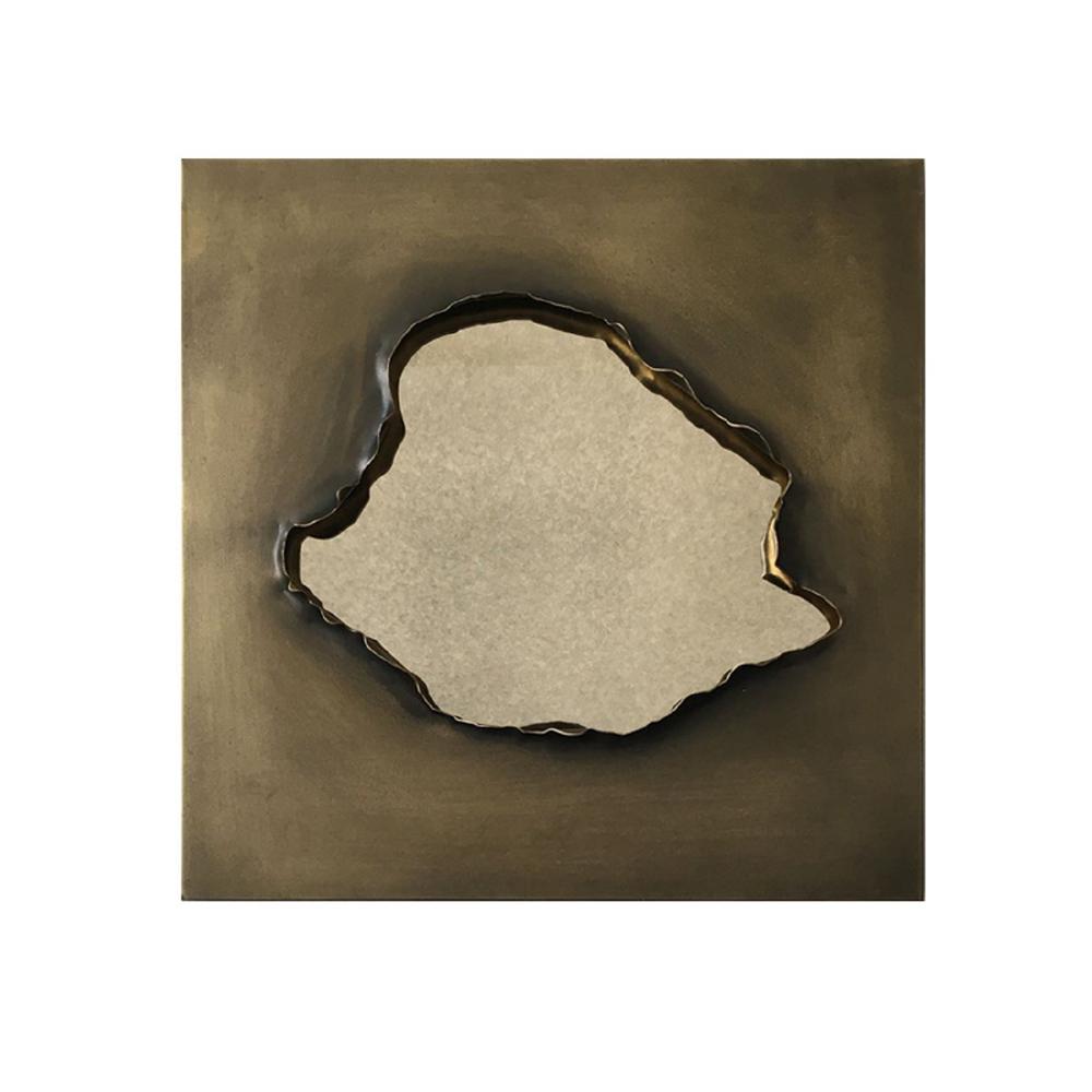 16 in. x 16 in. Modern Irregular Framed Decorative Metal Mirror
