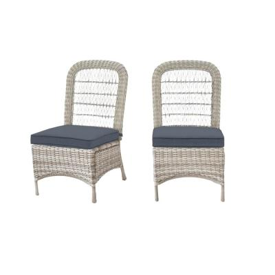 Beacon Park Gray Wicker Outdoor Patio Armless Dining Chair with CushionGuard Steel Blue Cushions (2-Pack)
