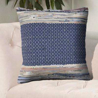 Lace Look 18 in. x 18 in. Blue Multi Color Throw Pillow