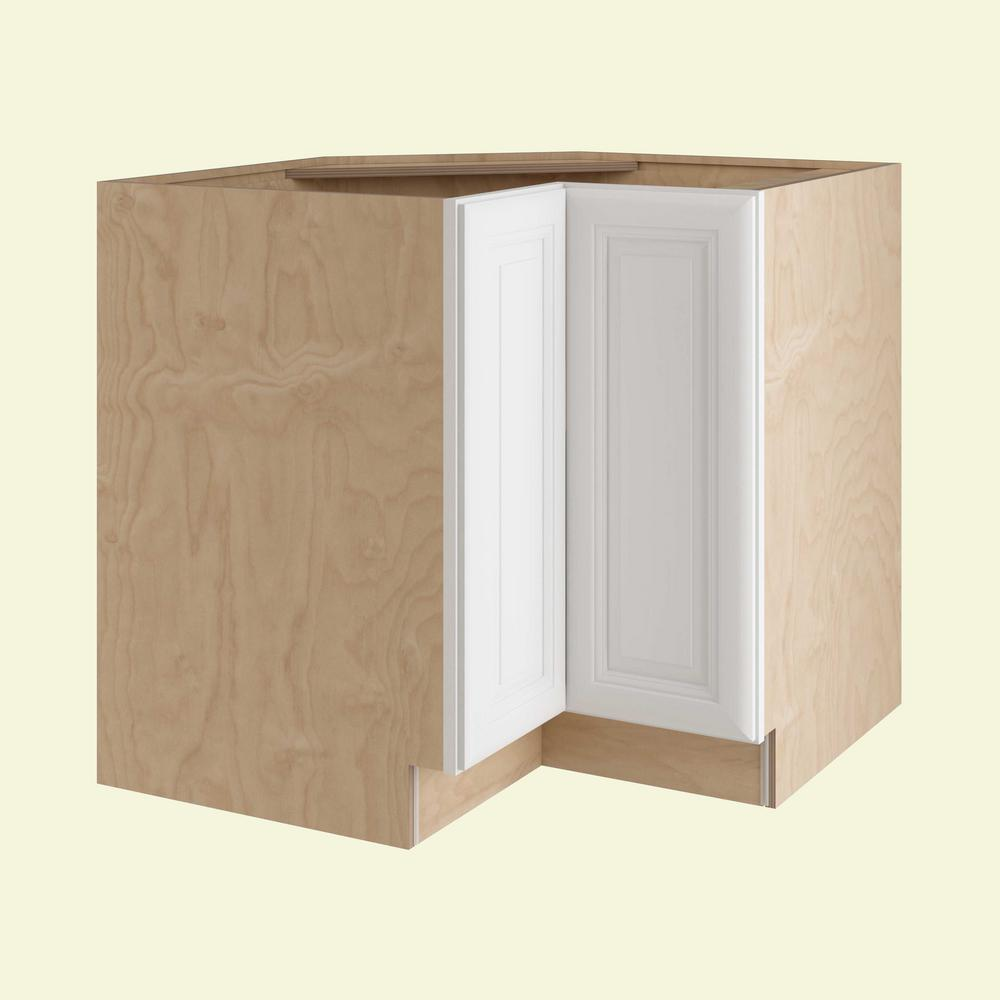 Home Decorators Collection Brookfield Assembled 33x34.5x24 in. Easy Reach Super Susan Hinge Left Base Kitchen Corner Cabinet in Pacific White