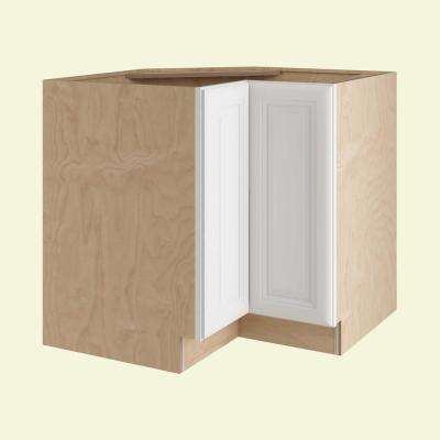 Brookfield Assembled 33x34.5x24 in. Easy Reach Super Susan Hinge Right Base Kitchen Corner Cabinet in Pacific White