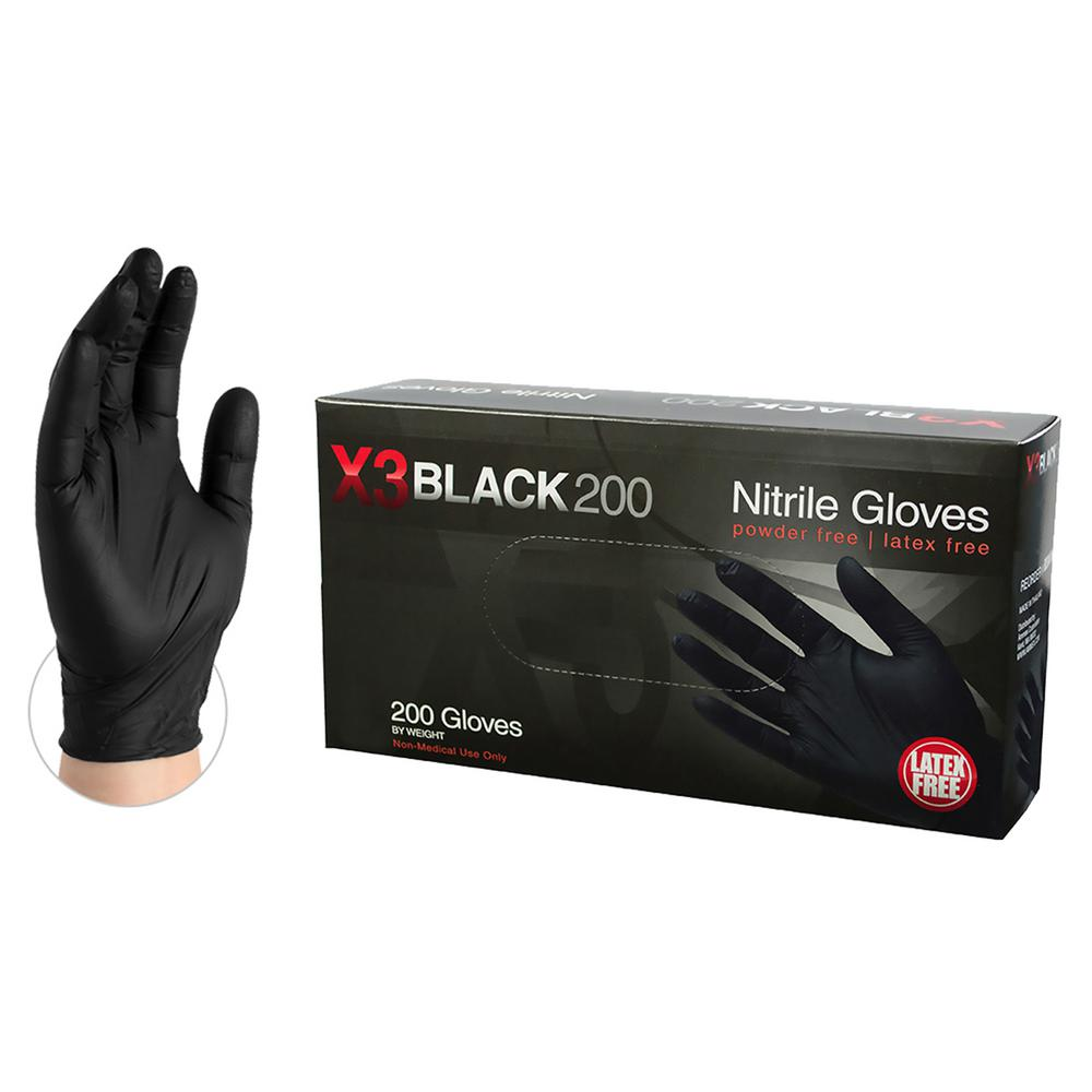 X-Large 4 mm Black Nitrile Latex Powder Free Disposable Gloves (200-Box)