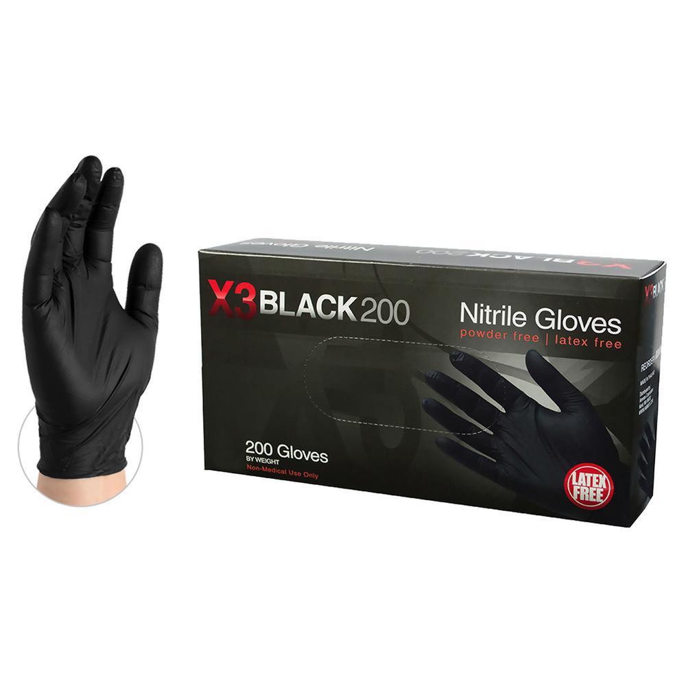 XX-Large 4 mm Black Nitrile Latex Powder Free Disposable Gloves (2000-Case)