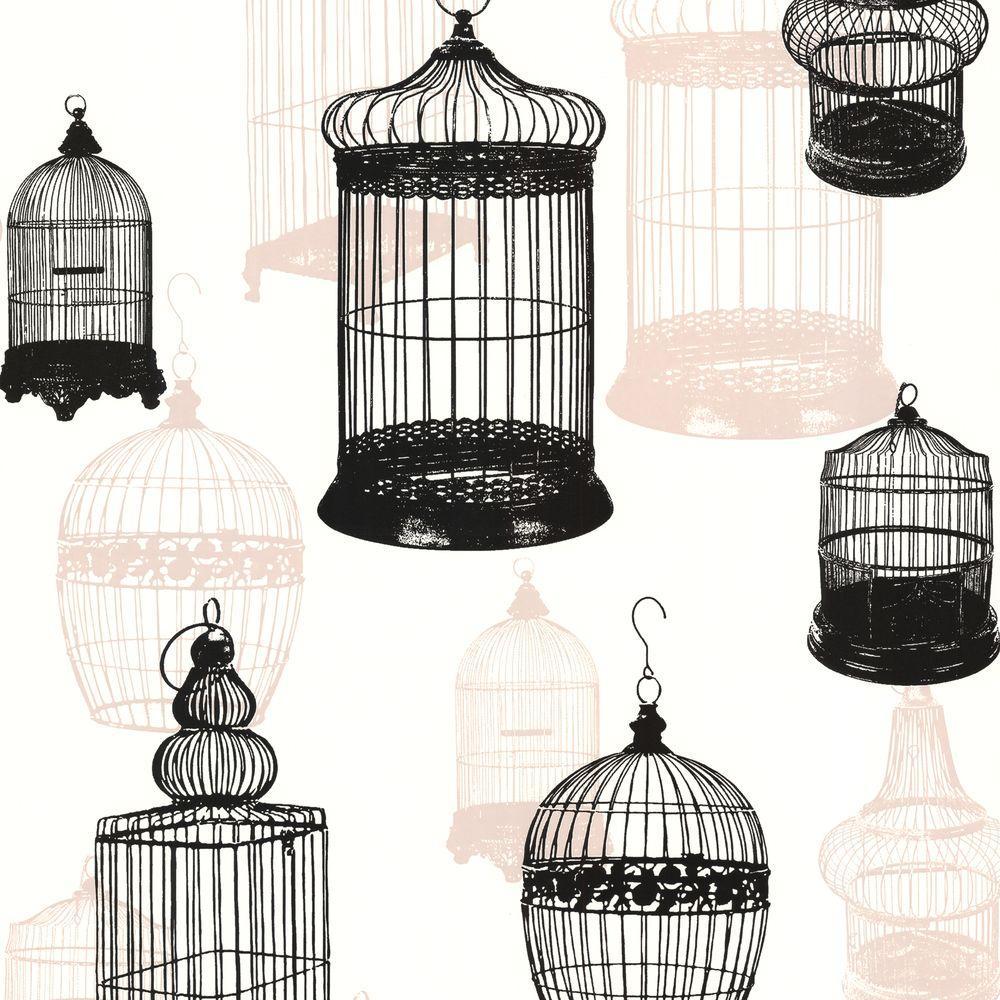 Avian Black Bird Cages Wallpaper