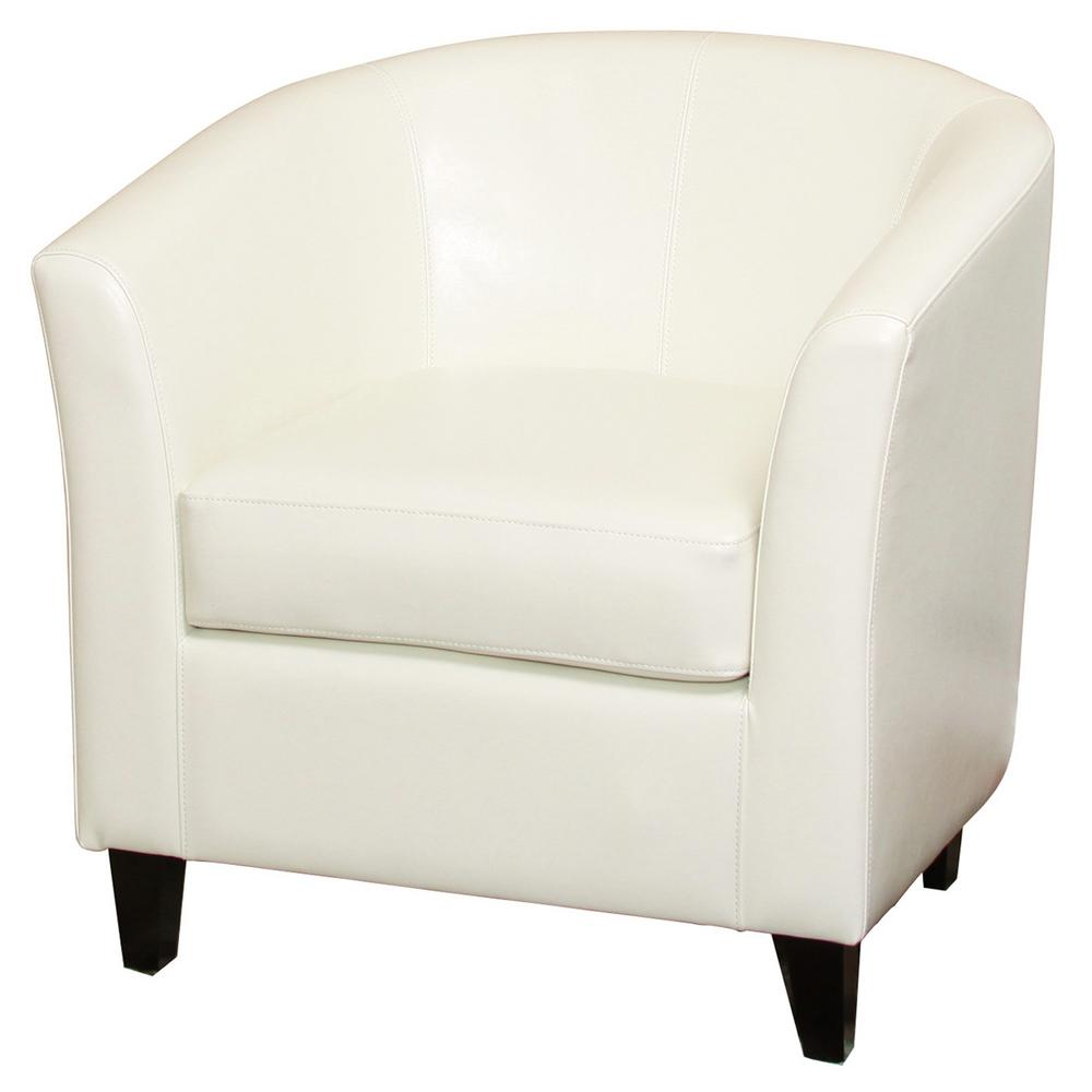 Noble House Preston Ivory Bonded Leather Club Chair