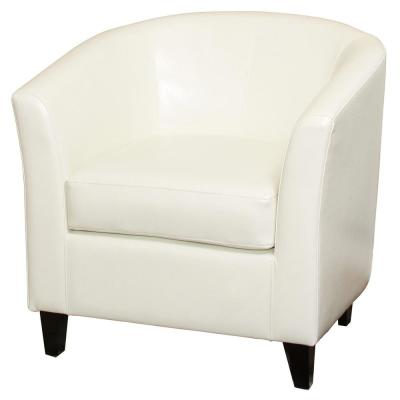 Preston Ivory Bonded Leather Club Chair
