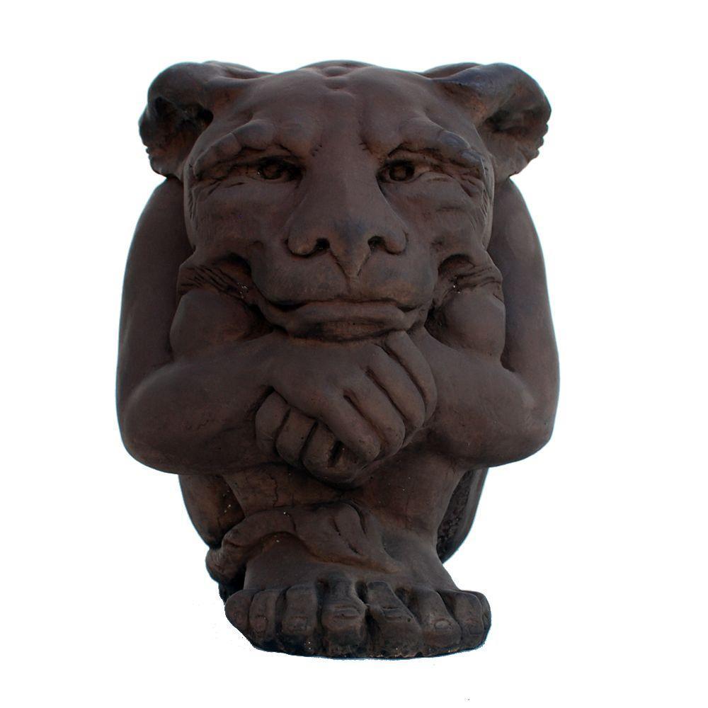 Cast Stone Large Igor Gargoyle Garden Statue, Dark Walnut