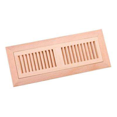 4 in. x 14 in. Wood Red Oak Unfinished Flush Mount Vent Register