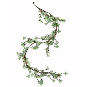 5 ft. Green Leaves and Red Berries Garland