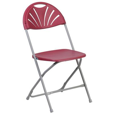 Burgundy Plastic Seat with Metal Frame Folding Chair (Set of 2)