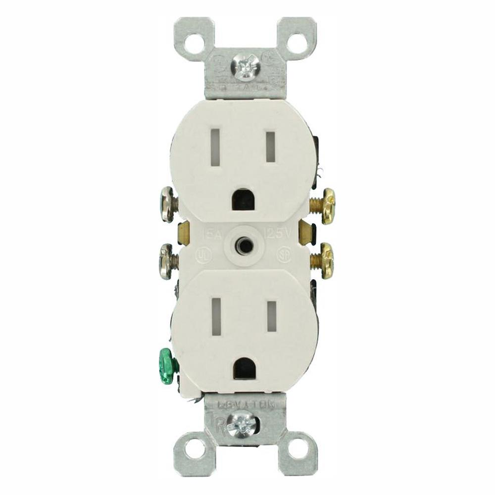 Leviton 15 Amp Tamper-Resistant Duplex Outlet, White (10-Pack)