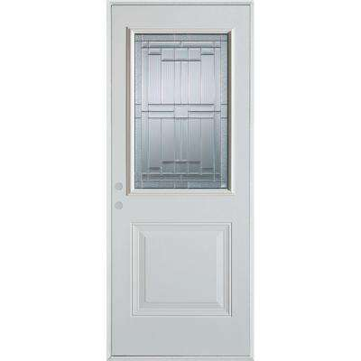 37.375 in. x 82.375 in. Architectural 1/2 Lite 1-Panel Painted White Steel Prehung Front Door