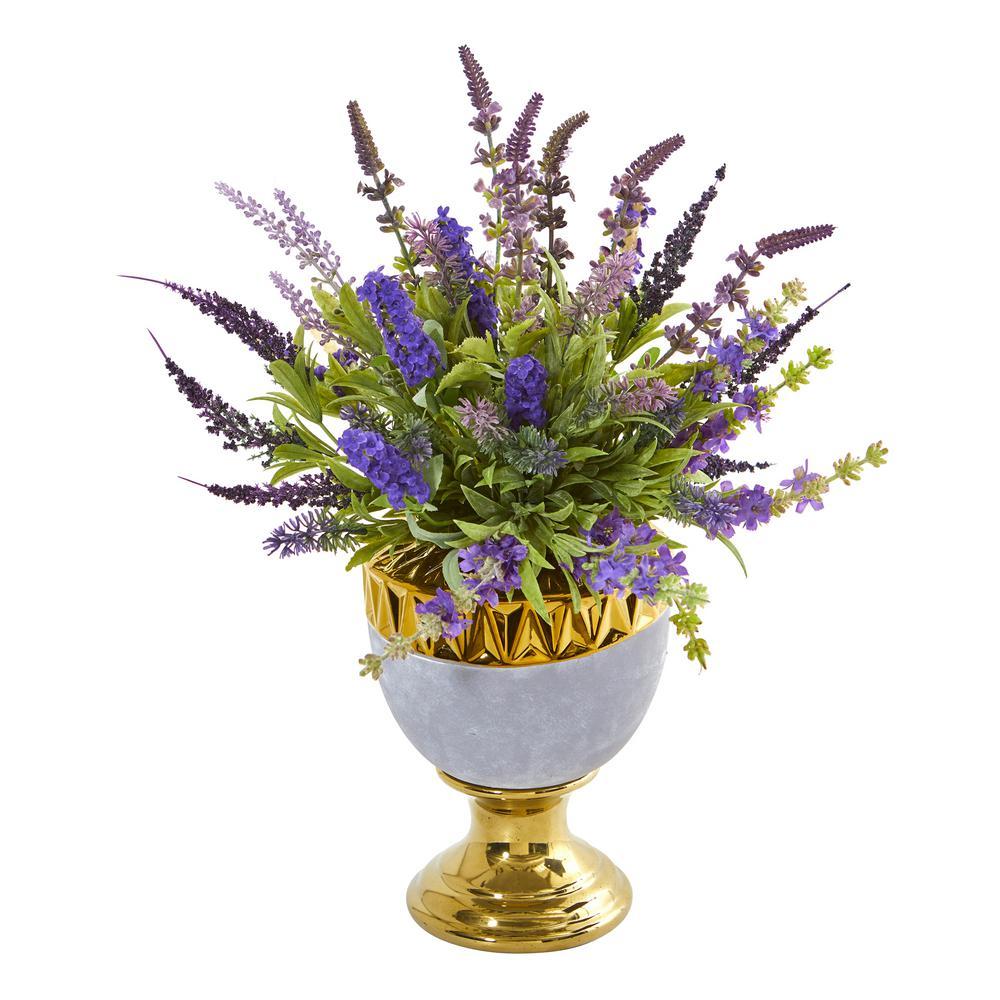 Nearly Natural 19 in. Lavender Artificial Arrangement in Decorative Urn