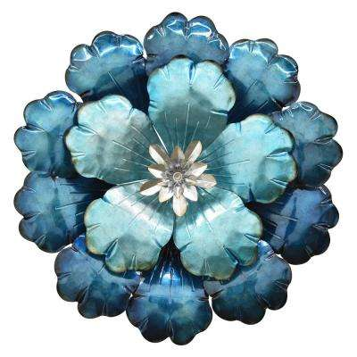 16.5 in. Metal Flower Wall Decor in Blue