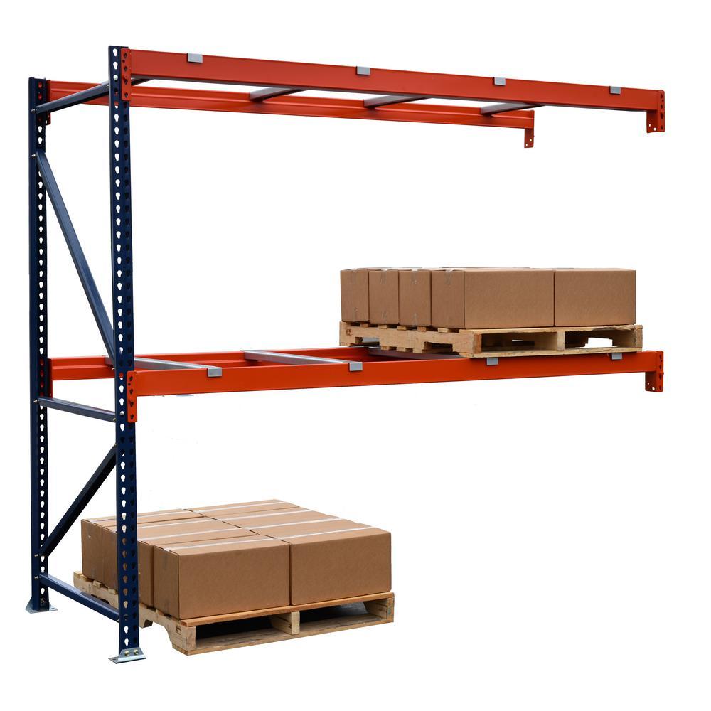 Blue and Orange 2-Tier Steel Garage Storage Shelving Unit (108 in. W x 96 in. H x 42 in. D)