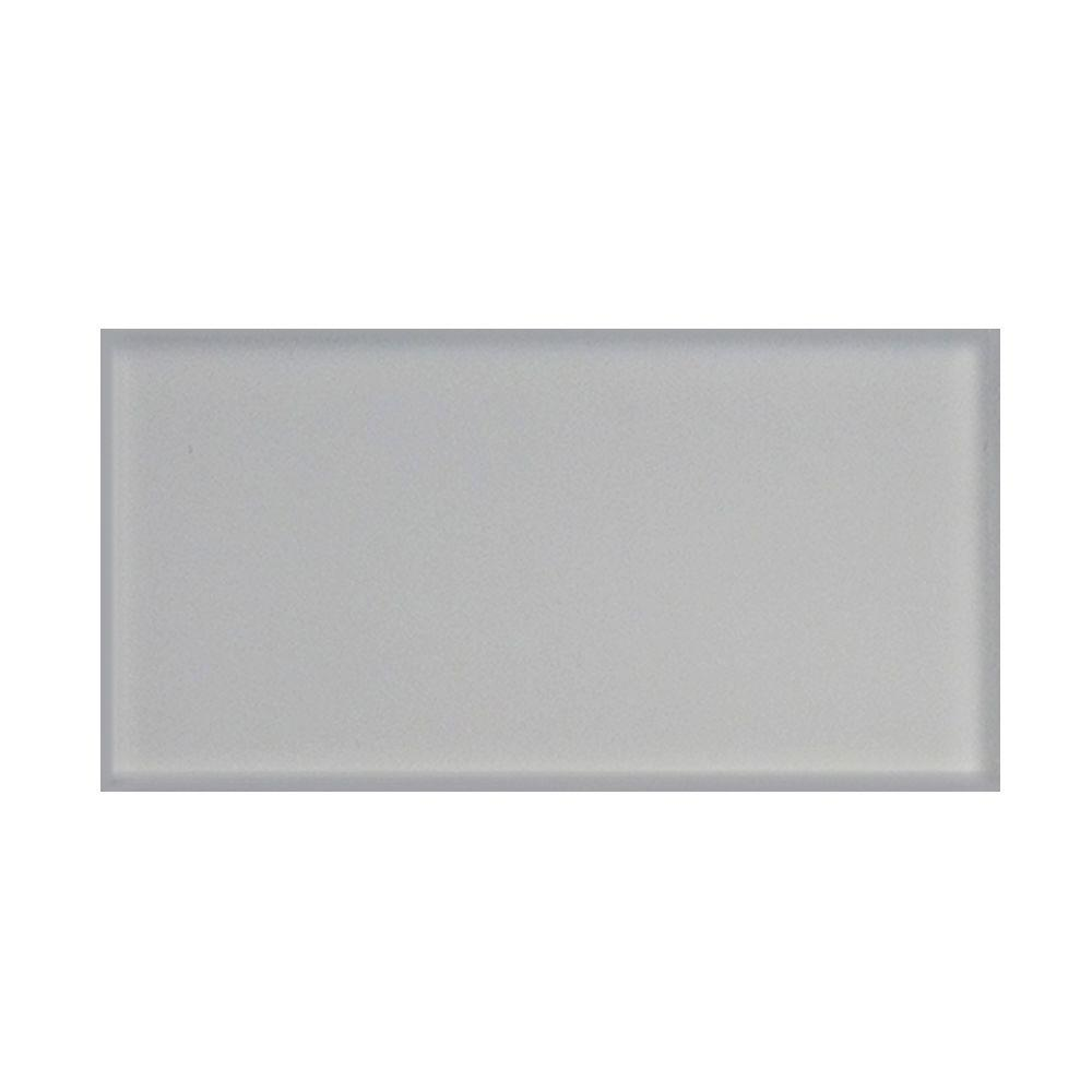 Splashback Tile Contempo Bright White Frosted Glass Tile - 3 in. x 6 ...
