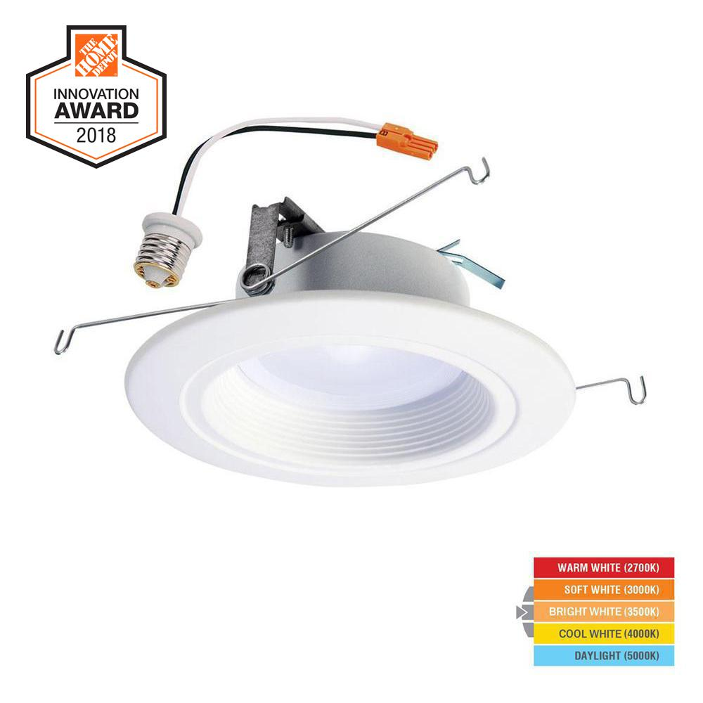 halo rl 5 in and 6 in white integrated led recessed ceiling light