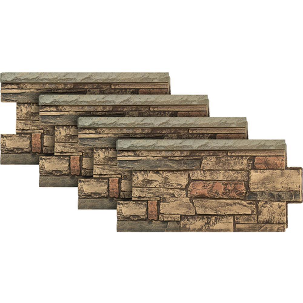 Ledgestone Wainscot 48 in. x 24 in. #25 Mocha Faux Stone Panel (4-Pack)