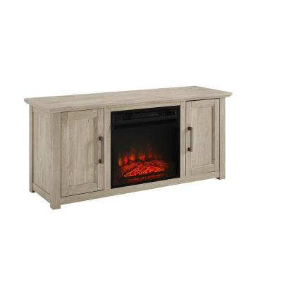 Camden Frosted Oak 48 in. Low Profile TV Stand with Fireplace Fits 50 in. TV with Cable Management