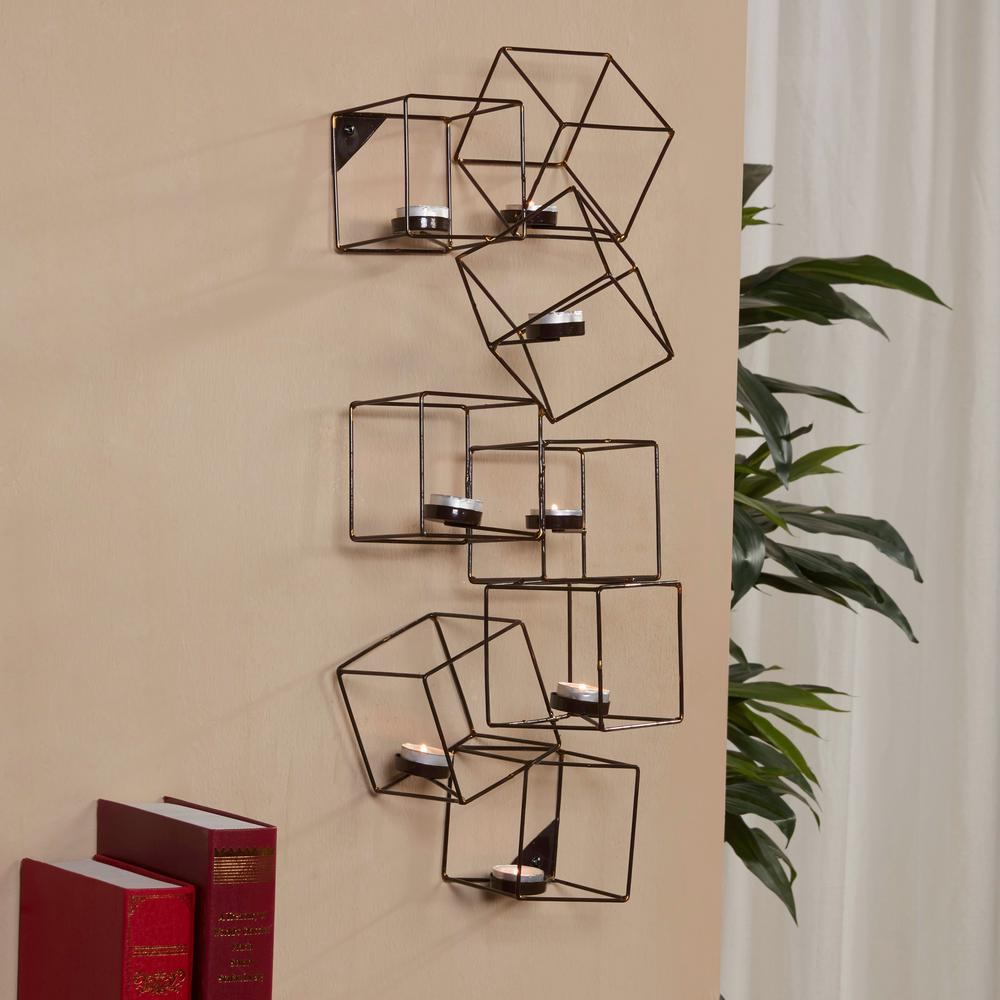 Attractive Cubic Black And Gold Metal Wall Tea Light Holder