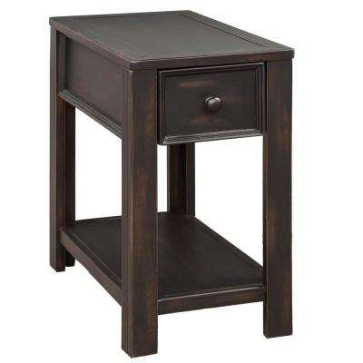 Black Retro Style Black Console Table with Open Shelf and Drawer