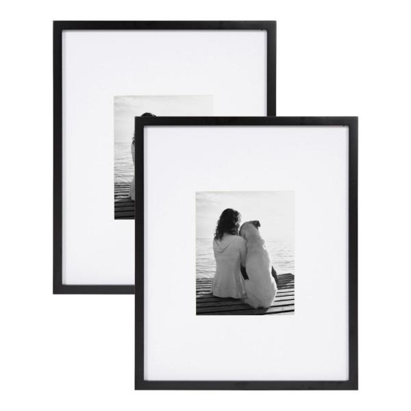 Designovation Gallery 16x20 Matted To 8x10 Black Picture Frame Set