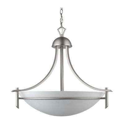 3-Light Brushed Pewter Chandelier with Etched Dove White Glass Shade