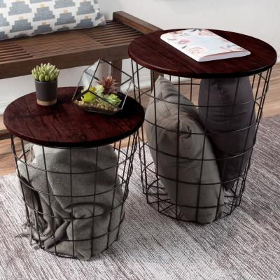 Cherry 2-Piece Nesting Veneer Metal and Wood Round Accent Table Set