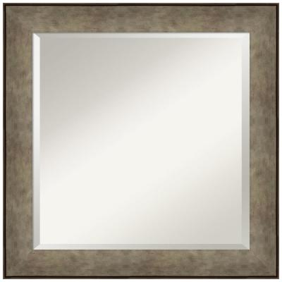 Medium Rectangle Distressed Brown Silver Beveled Glass Contemporary Mirror (24.88 in. H x 24.88 in. W)