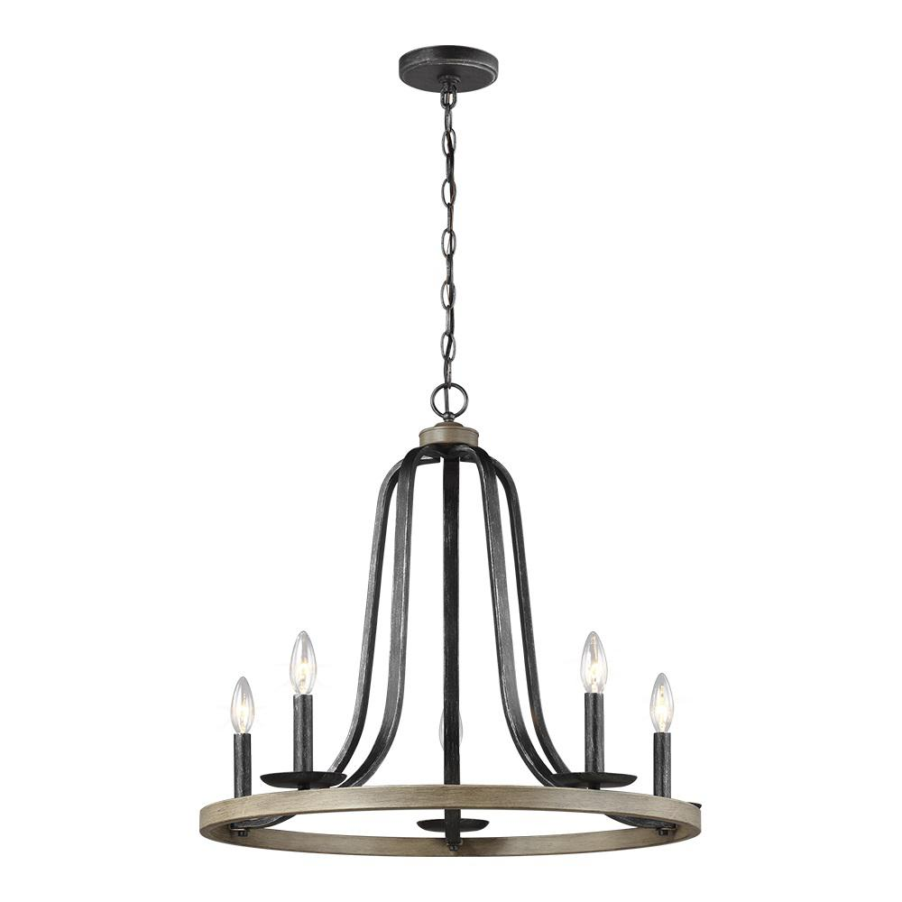 Sea Gull Lighting Conal 26 In W 5 Light Weathered Gray Wagon Wheel Rustic Farmhouse Chandelier With Distressed Oak Finish Accents