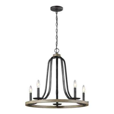 Conal 26 in. 5-Light Weathered Gray Chandelier with Distressed Oak