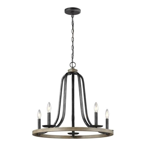 Conal 26 in. W 5-Light Weathered Gray Wagon Wheel Rustic Farmhouse Chandelier with Distressed Oak Finish Accents