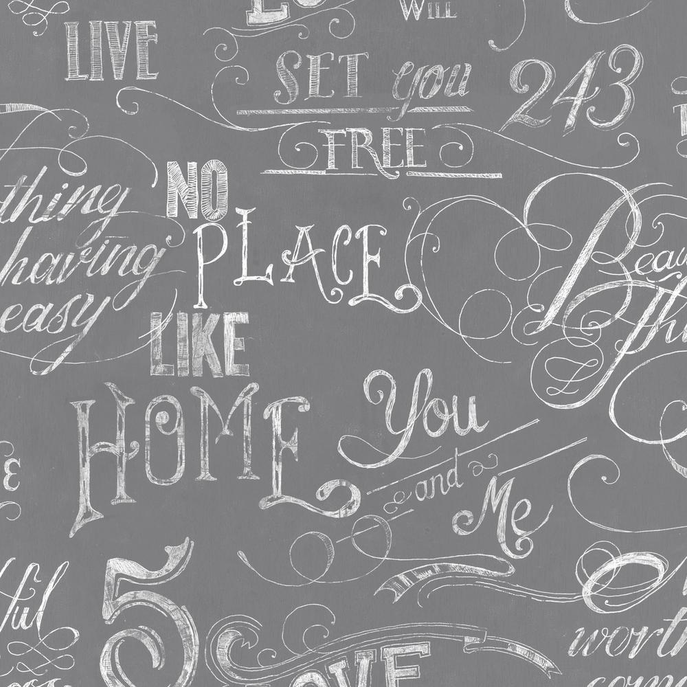 Graham Brown Gray Chalk Board Wallpaper
